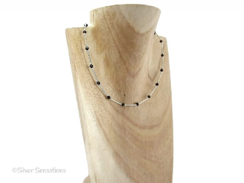 Sparkly Chocolate Brown Swarovski Crystals & Sterling Silver Tubes Necklace